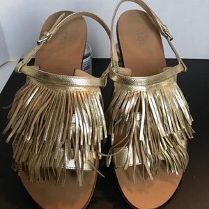 J crew gold leather Fringe sling back sandals sz7